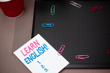 Text sign showing Learn English. Business photo text gain acquire knowledge in new language by...