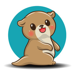 Cute otter cartoon., Animal Cartoon concept.
