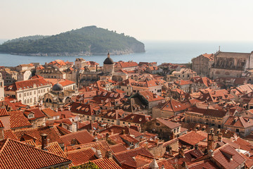 Overlooking the rooftops of Dubrovnik Croatia from city wall