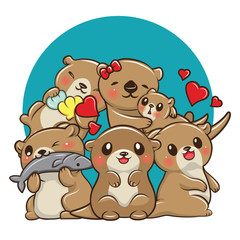 Set Cute otter cartoon., Animal Cartoon concept.