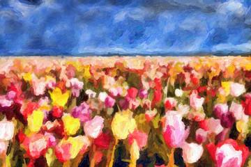 Impressionnisme. Champ de tulipes
