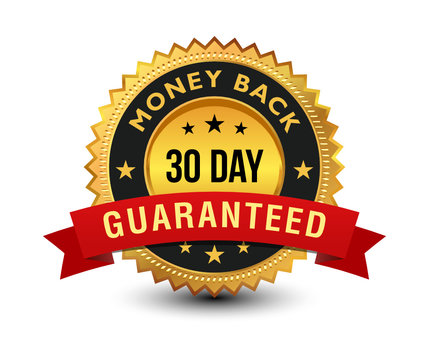Golden colored 30 day money back guaranteed badge with red ribbon on top isolated on white background. banner, sticker, tag, icon, stamp, label, sign.