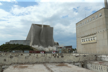 The remains of a cooling tower at RWE's Muelheim-Kaerlich nuclear power plant collapse in Muelheim-Kaerlich