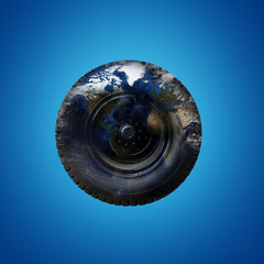Truck wheel and tire with world map and cloud image source from NASA