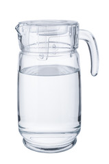 Glass decanter with pure water on white background