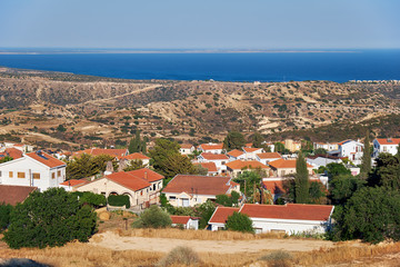 The view of cosy residential houses of Pissouri village. Limassol district. Cyprus