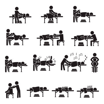 Massage people icon set. Vector.