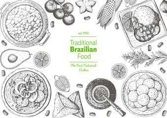 Brazilian cuisine top view frame. Brazilian food menu design with farofa, mate tea, feijoada, pao de queijo. Vintage hand drawn sketch vector illustration.
