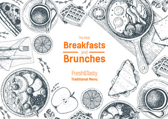 Breakfasts and brunches top view frame. Food menu design. Vintage hand drawn sketch vector illustration. Good nutrition.