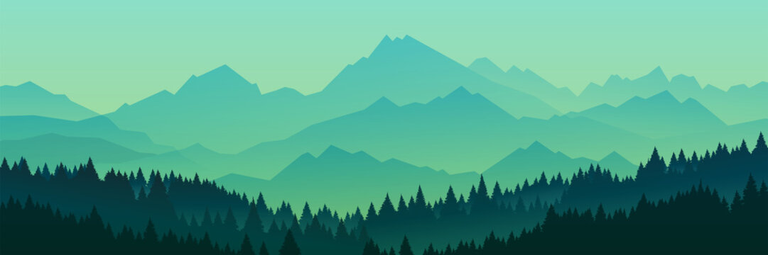 Forest silhouette, vector illustration..