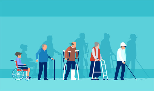 Vector of disabled handicapped senior people