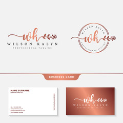 Feminine logo design with business card template vector