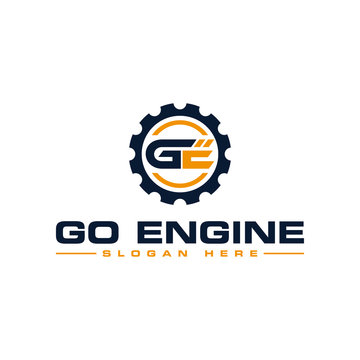 Initial ge engineering logo design template vector