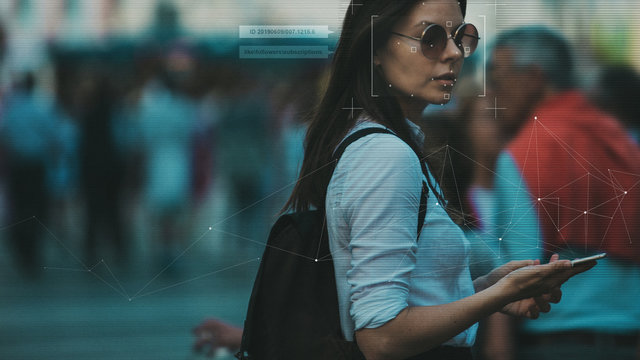 Facial recognition and search and surveillance of a person in the modern digital age, the concept.