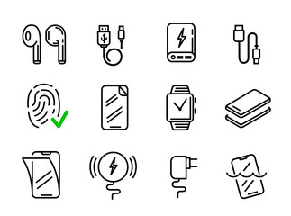 Set of phone icons in line style.