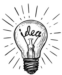 Vintage light bulb in sketch style.