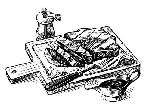 Steak bbq drawing. Meat hand drawn
