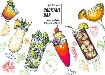 Alcoholic cocktails hand drawn vector illustration. Cocktails set. Menu design elements. Pina colada, mojito, singapore sling, long island iced tea, sidecar.