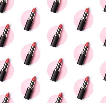 Pink lipstick seamless pattern on creative pastel pink and white background