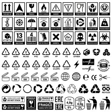 Set of icons for packaging and recycling. Vector elements. Ready for use in your design. EPS10.