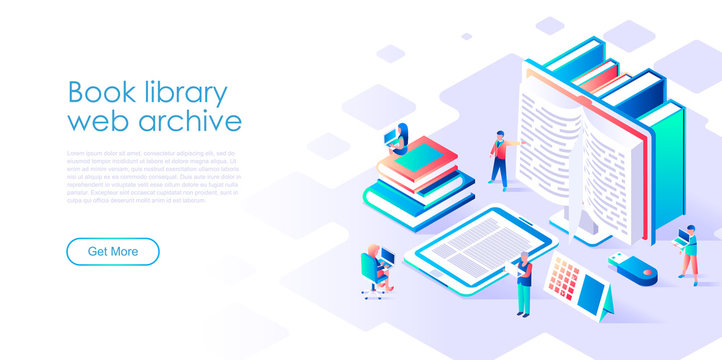 Modern flat design isometric concept of Book Library for banner and website. Isometric landing page template. Technology and literature, digital culture on media library. Vector illustration.
