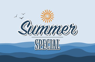 text Summer Special on blue maritime background vector illustration