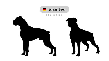 Dog breed German Boxer. Side and front view silhouettes isolated on white background.