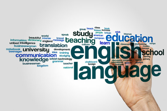 English language word cloud concept on grey background