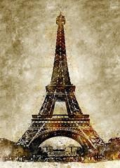 Eiffel Tower Vintage Watercolor Art