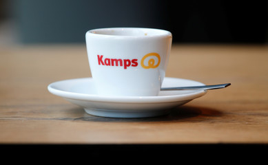 The logo of Germany's largest bakery chain Kamps in Dusseldorf