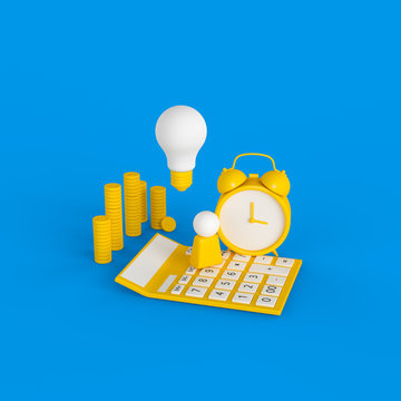 Time management and project management concept, planning and organizing business process. Alarm clock, light bulb, money, calculator and human figure abstract objects, 3d illustration.