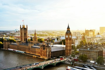 High Angle View Of Westminster Bridge By Big Ben Against Sky - stock photo