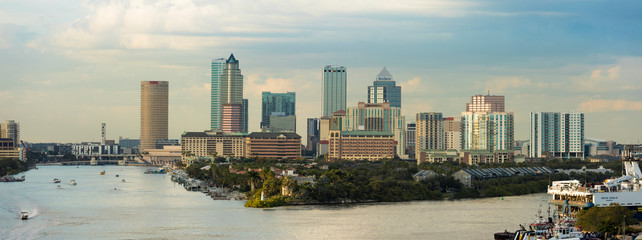 TAMPA, FLORIDA-JANUARY 12, 2019: View of the downtown area of Tampa, Florida and port from the South.