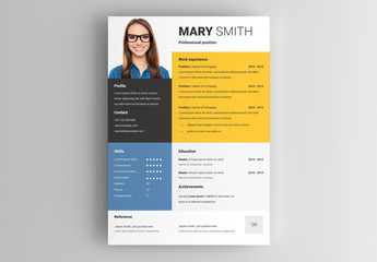 Resume Layout with Yellow and Blue Accents