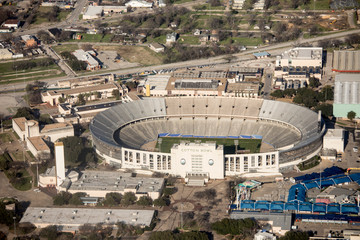 Aerial view of the Cotton Bowl Stadium in Dallas, Texas.
