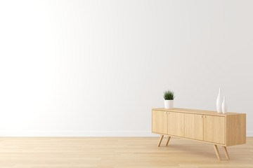 Interior of living scene white wall,  wooden floor and wooden cabinet setup for advertising with empty space for text. 3d render