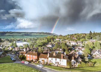 Rainbow over Box Hill and Dorking in the Surrey Hill- southern England  Fototapete