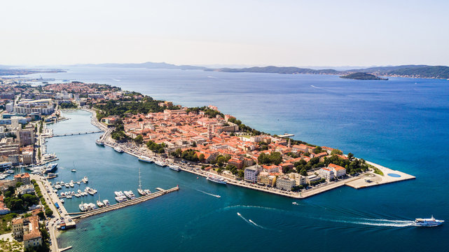 Aerial view of the old city Zadar in Croatia