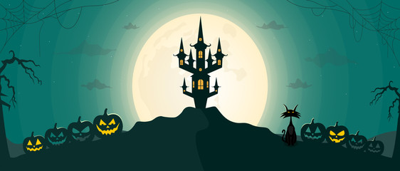 Happy Halloween night landscape background with moon and scary castle. Vector illustration.