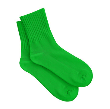 Green socks on an isolated white background.