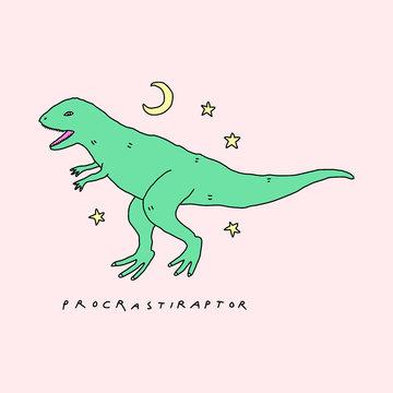 Dinosaur Procrastination Raptor Funny Humor Night Cute Vector Clipart Illustration