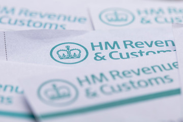 LONDON, UK - January 24th 2019: HMRC, Her Majesty's Revenue and Customs tax return paperwork.