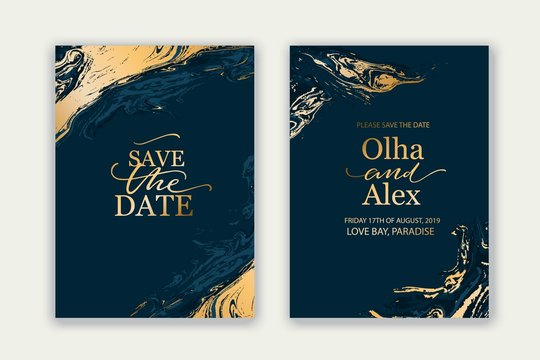 Luxury brochure, cover, wedding card template with geometric frame. Blue and gold marble texture.