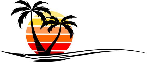 Beach Palm Skyline Vector Silhouette