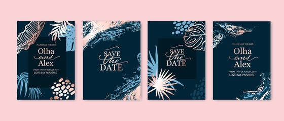 Set of elegant fashion brochure, birthday card, background, cover. Blue and goldenrose gold marble texture. Geometric frame. Palm, exotic leaves. Save the date, invitation, wedding card design.