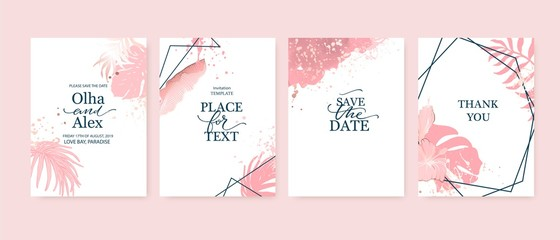 RGBSet of elegant brochure, card, background, cover. Blush and rose gold marble texture. Geometric frame. Palm, exotic leaves. Save the date, invitation, birthday card design.