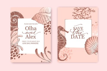 Set of wedding cards, invitation. Save the date sea style design. Romantic beach wedding summer background. Hand drawn seashells with rose gold texture.