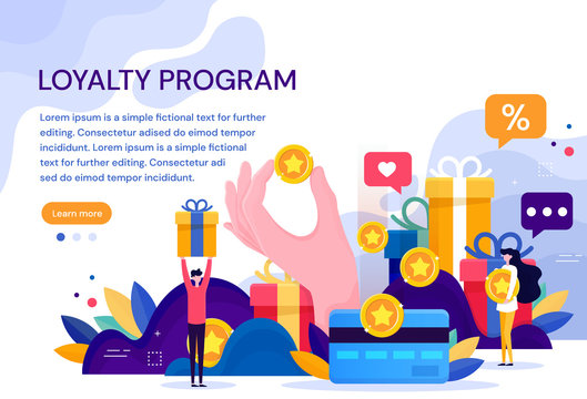 Customer loyalty marketing program, returning customer flat vector illustration with icons and elements. Flat Vector Illustration