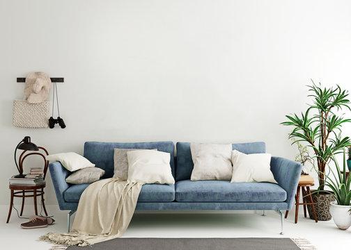 Mock up wall in steel blue modern interior background, living room, Scandinavian style, 3D render, 3D illustration