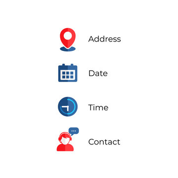 Address, date, time, contact icons vector illustration